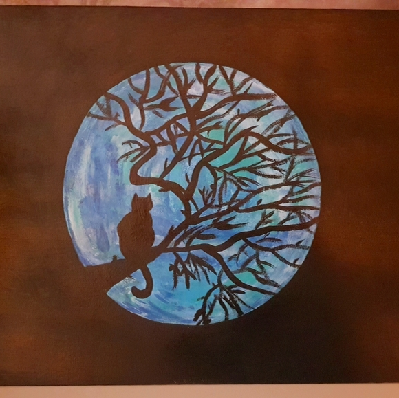 Cat night time acrylic painting 11 inches by 8